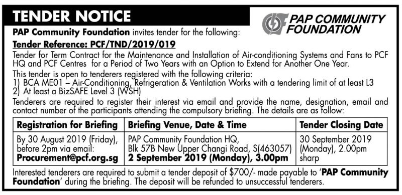 PCF Tender – 16 August 2019