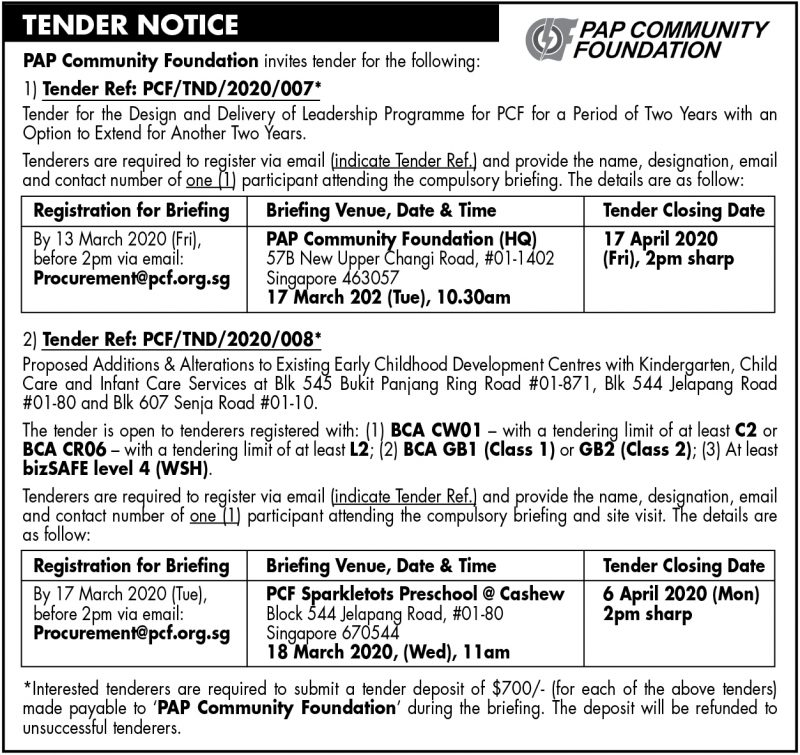 PCF Tender – 6 March 2020