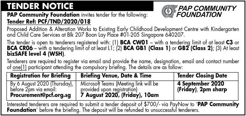 PCF Tender – 24 July 2020
