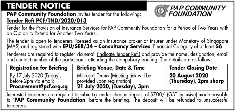 PCF Tender – 3 July 2020