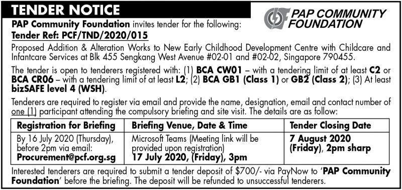 PCF Tender – 9 July 2020