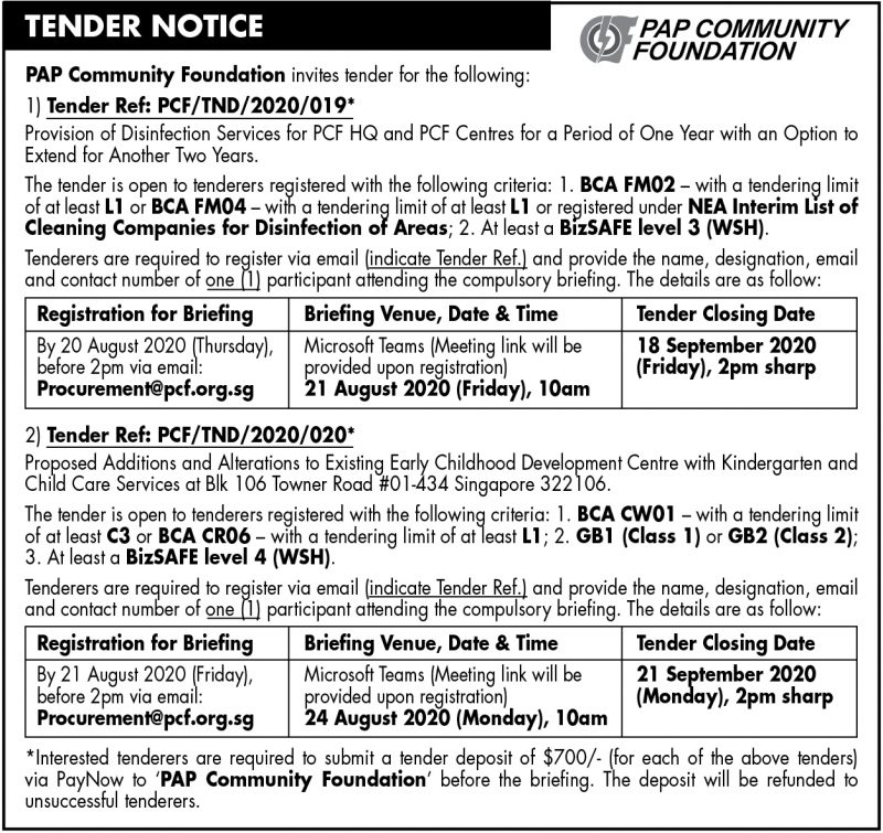 PCF Tender – 7 August 2020